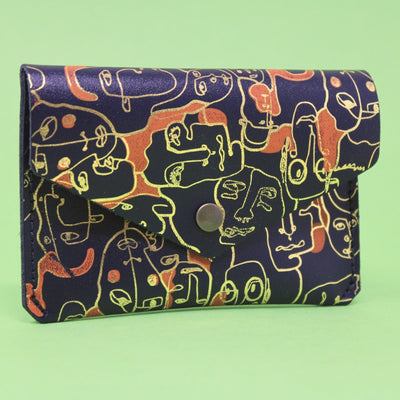 Ark Colour Design: Many Faces Leather Popper Wallet, Navy