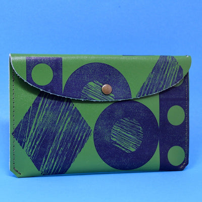 Ark Colour Design: Throw Some Shapes Leather Wallet, Green/Blue