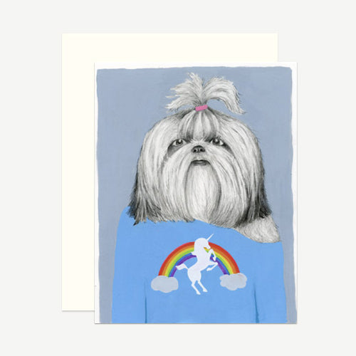 Dear Hancock: Shih Tzu in a Unicorn Tee