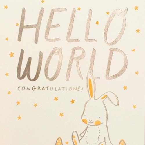 Hello Lucky: Bunny and Caterpillar Baby Card