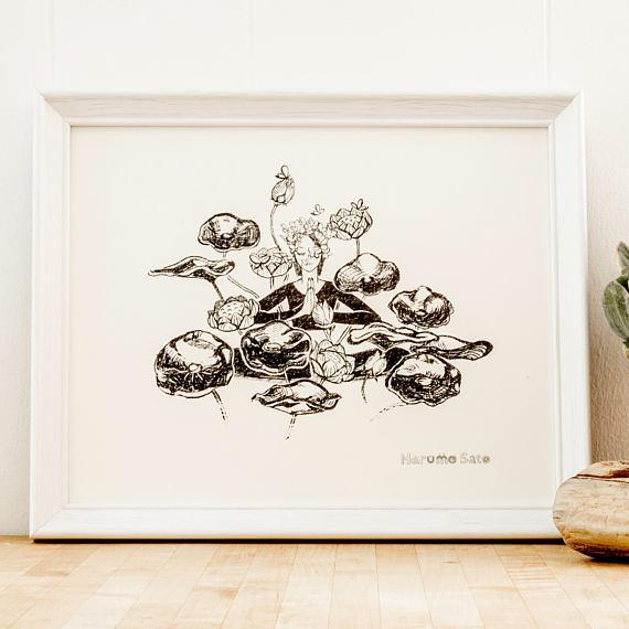 Harumo Bakery: Golden Lotus Print, 8x10""