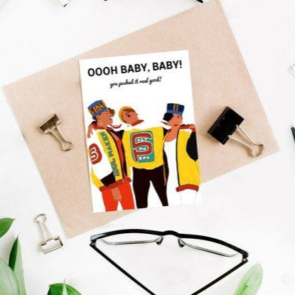 "Party Mountain Paper Co.: Salt-N-Pepa ""Push It"" Baby Shower Card"