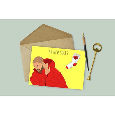 "Party Mountain Paper Co.: Drake ""No New Socks"" Card"