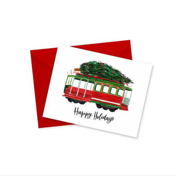 Doodles.ink: Holiday Cable Car Greeting Card