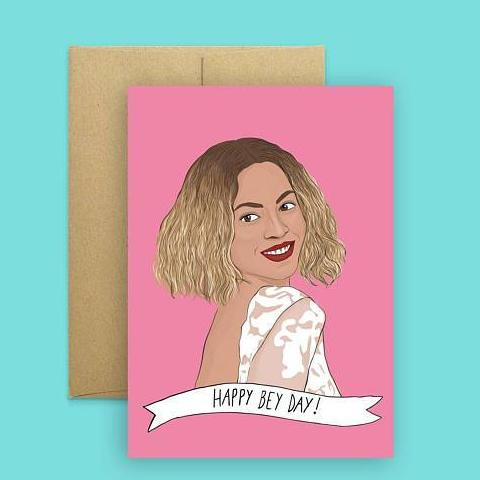 Party Mountain Paper Co.: Happy Bey-Day Card, Pink