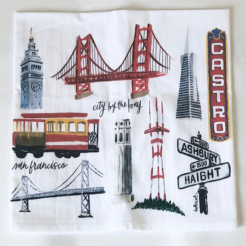 Doodles.ink: San Francisco Tea Towel