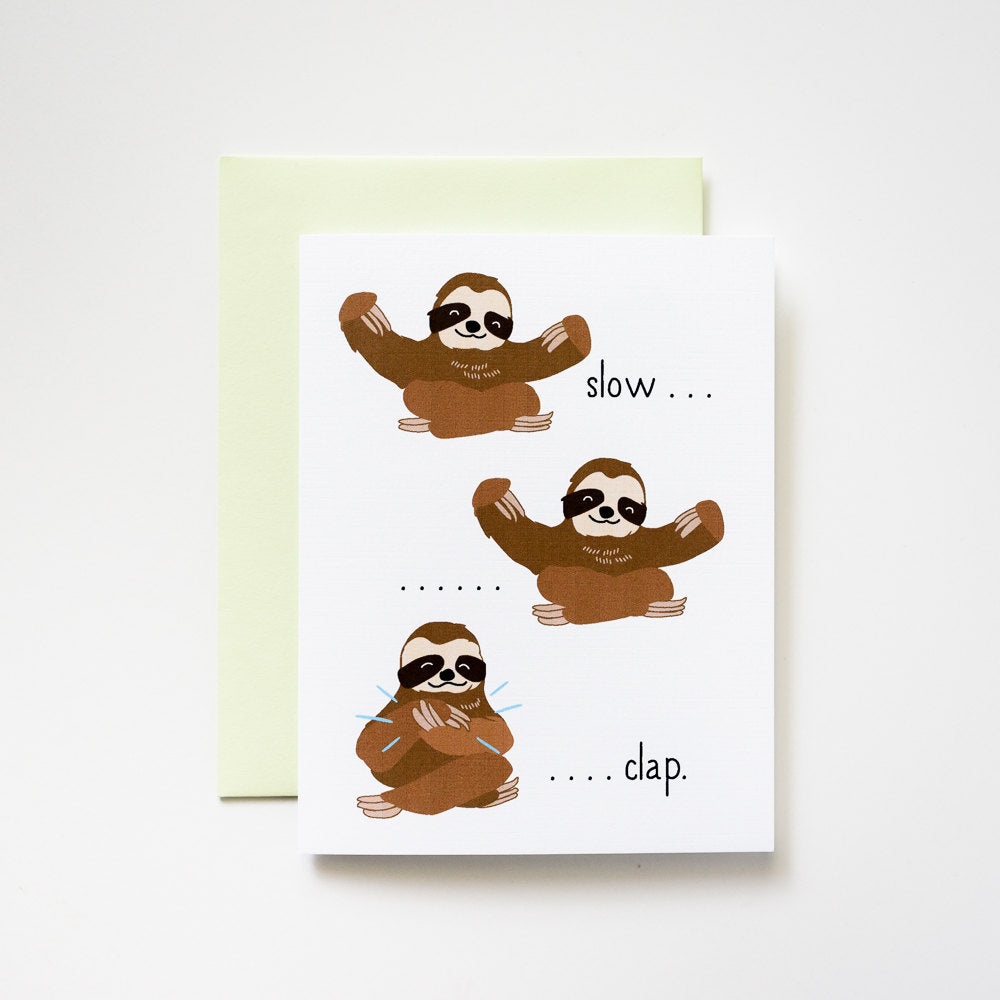 ILootpaperie: Slow Clap Sloths Congratulations Greeting Card