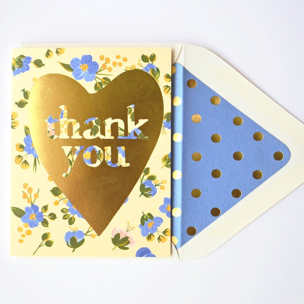 The First Snow: Thank You Gold Heart with Blue Florals Card