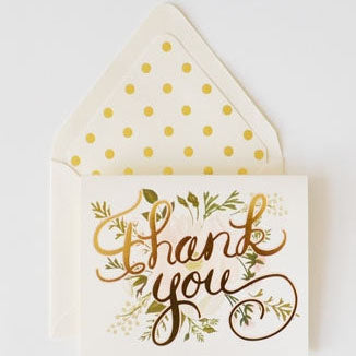 The First Snow: Thank You Card Gold and Blush Card