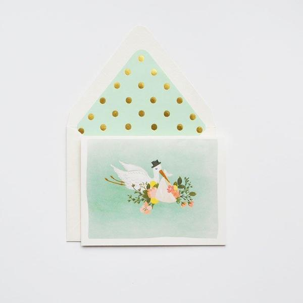 The First Snow: Baby Stork Card