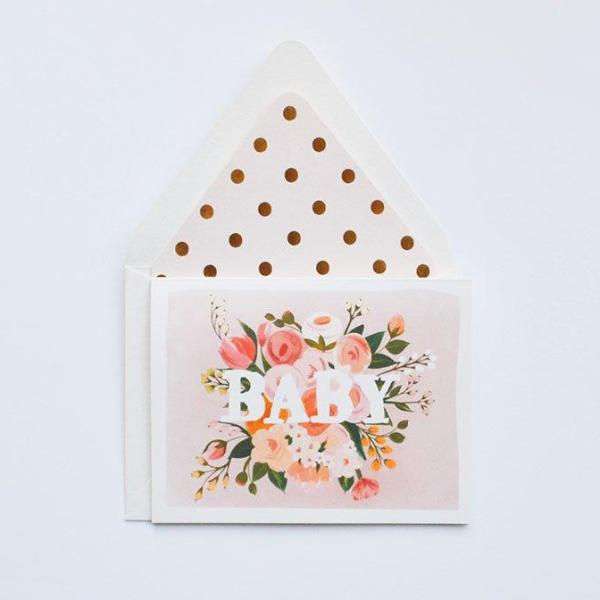 The First Snow: Baby Floral Card