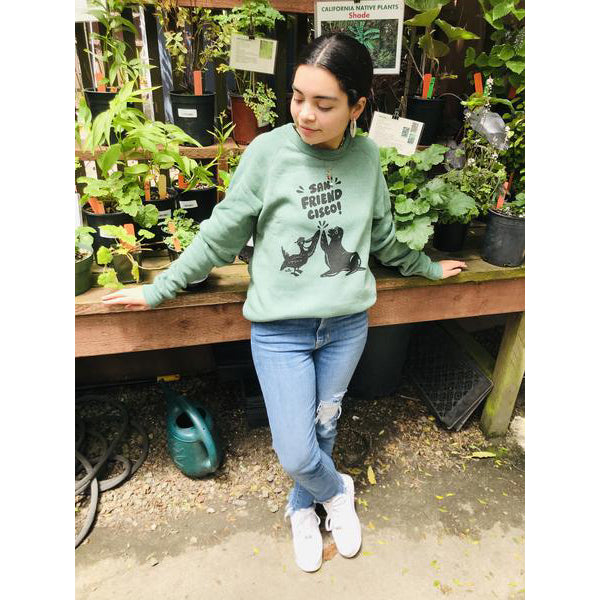 Unisex Adult San Friendcisco Raglan Sweatshirt, Heather Pine Green