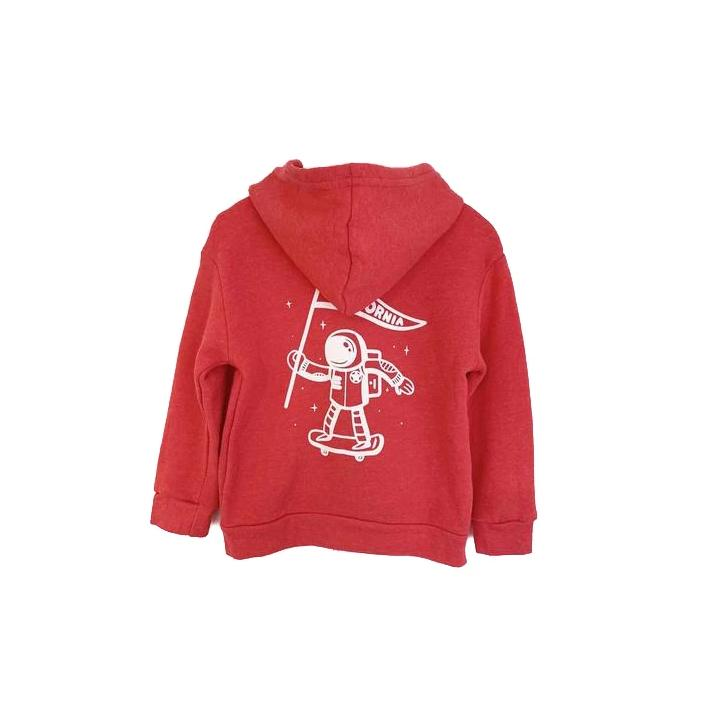 California Astronaut Zip Hooded Sweatshirt, Heather Red