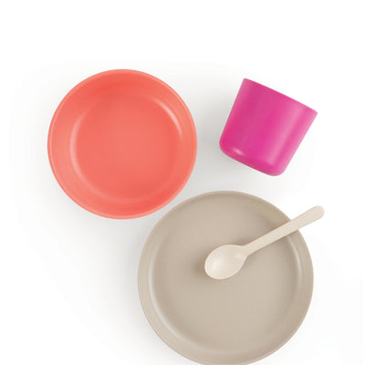 EKOBO: Bamboo Kids Dinner Set, Fuschia/Coral/Stone/White