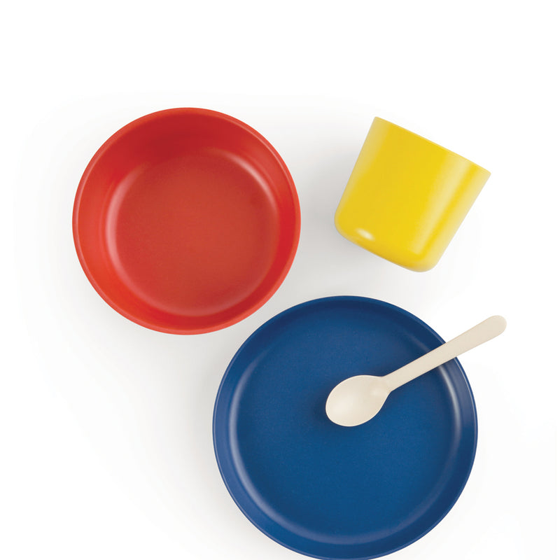 EKOBO: Bamboo Kids Dinner Set, Lemon/Tomato/Royal Blue/White
