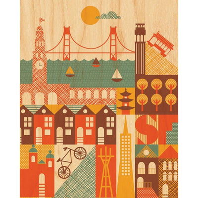 Petit Collage: San Francisco Print on Wood 11x14""