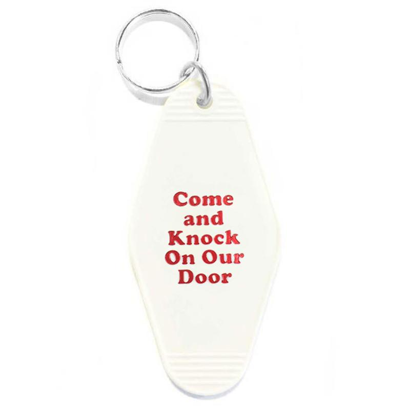 Three Potato Four: Come and Knock on Our Door Key Tag - White