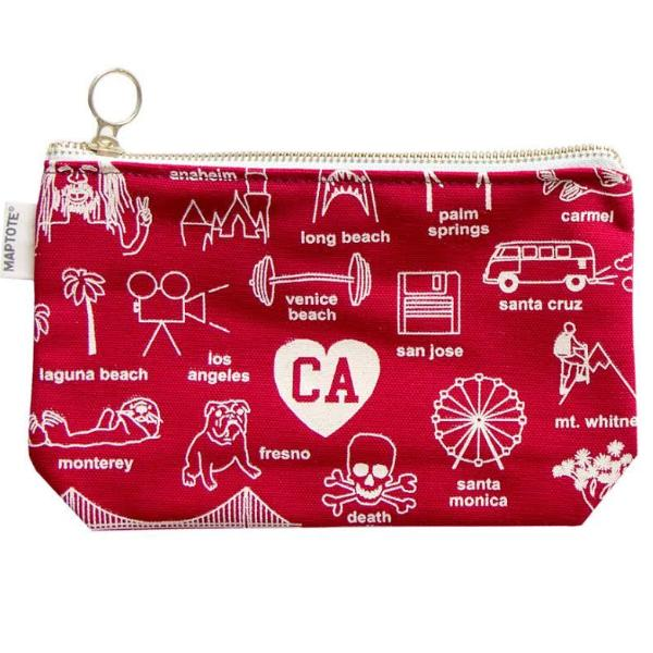 Maptote: San Francisco Zipped Pouches, Red