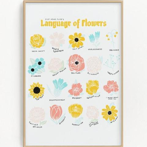Stay Home Club: Language of Flowers Riso Print