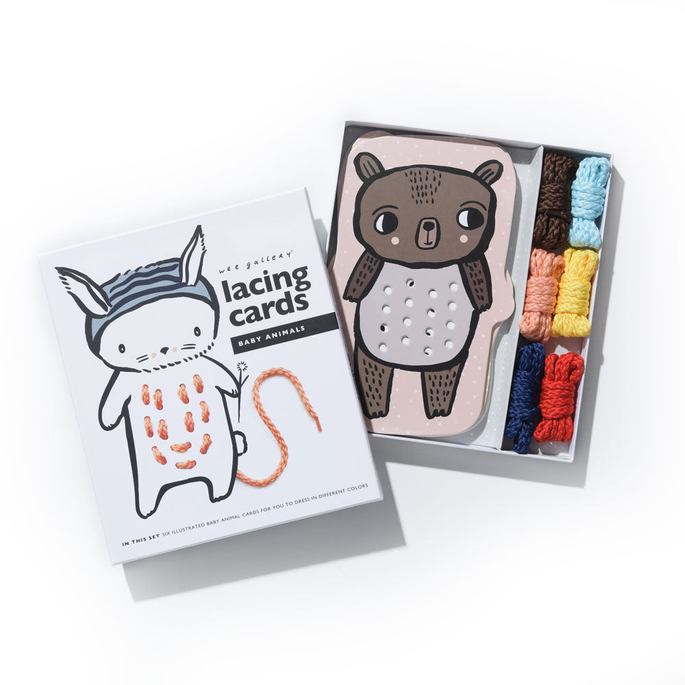 Wee Gallery: Lacing Cards - Baby Animals