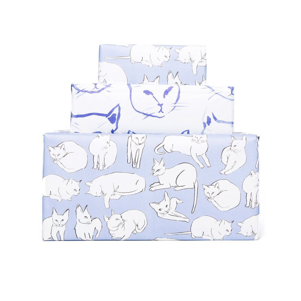 Knot and Bow: Violet Cats Newsprint Gift Wrap