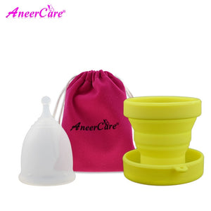 Clear Menstrual Period Moon Cup + Portable Menstrual Cup Steriliser