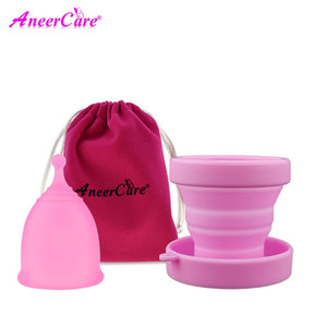 Pink Menstrual Period Moon Cup + Portable Menstrual Cup Steriliser