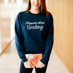 Happiest When Reading - Navy Blue Sweater - Calgary Public Library Store
