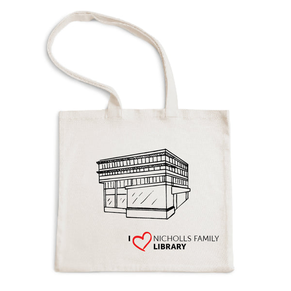 I Love Nicholls Family Library Tote Bag