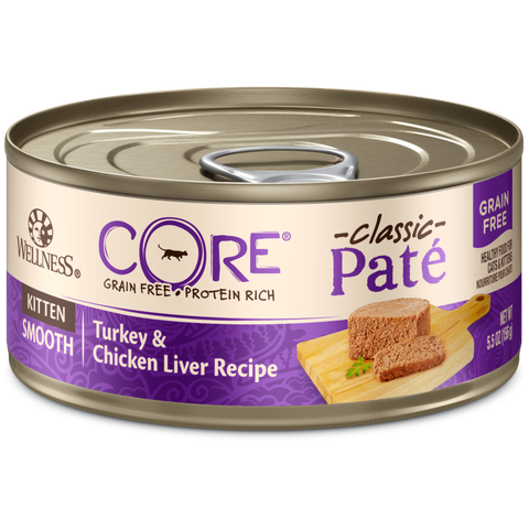 Wellness Premium Canned Kitten Food | CORE Grain-Free Formula | Turkey & Chicken Liver Recipe | 5.5 oz. Cans