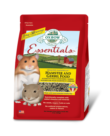Oxbow Essentials Premium Hamster and Gerbil Food packaging