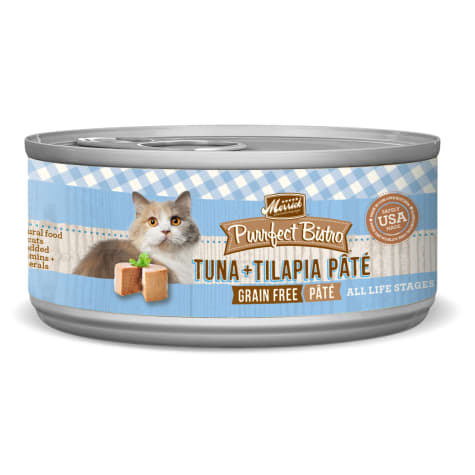 Merrick Purrfect Bistro Premium Canned Cat Food | Grain-free Recipe | Tuna + Tilapia Pate | 5.5oz Can
