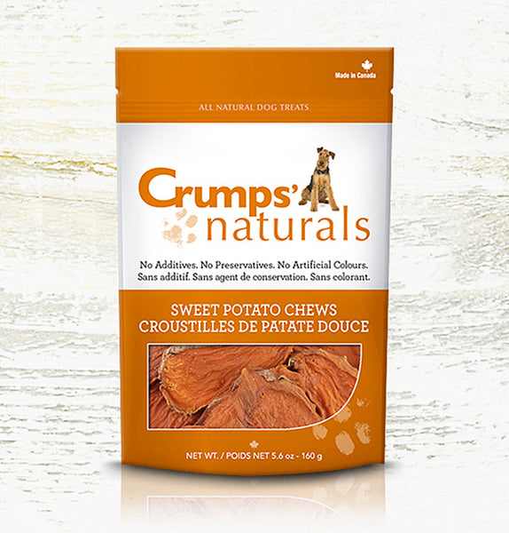 Crumps' Naturals Premium Dog Treats | Sweet Potato Chews | 330g Pouch