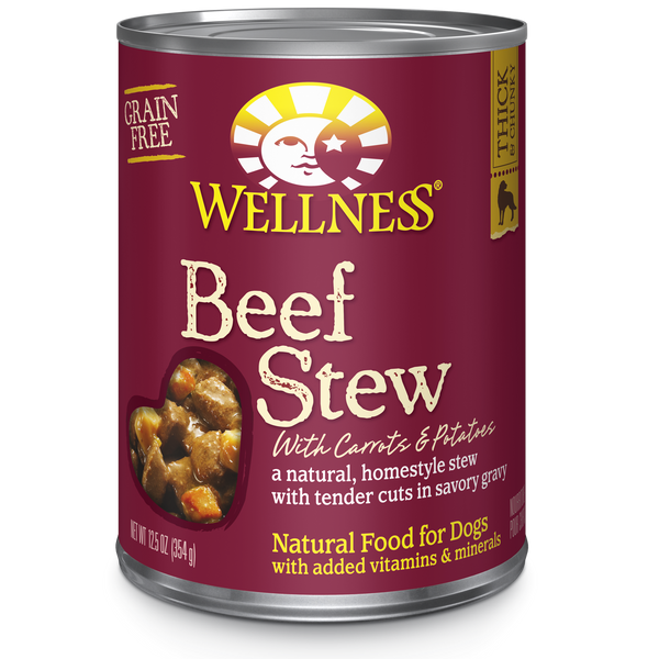Wellness Premium Canned Dog Food | Grain-Free Homestyle Stew in Gravy | Beef Stew with Carrots & Potatoes Recipe | 12.5 oz. Can