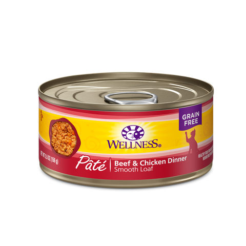Wellness Premium Canned Cat Food | Complete Health Grain-Free Formula | Beef & Chicken Pate Recipe