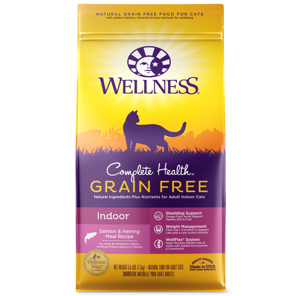 Wellness Premium Cat Food | Complete Health Indoor Health Grain-Free Formula | Salmon & Herring Meal Recipe