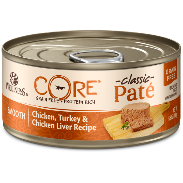 Wellness Premium Canned Cat Food | CORE Grain-Free Formula | Chicken, Turkey & Chicken Liver Pate Recipe | 5.5 oz. Cans