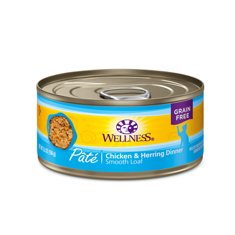 Wellness Premium Canned Cat Food | Complete Health Grain-Free Formula | Chicken & Herring Pate Recipe