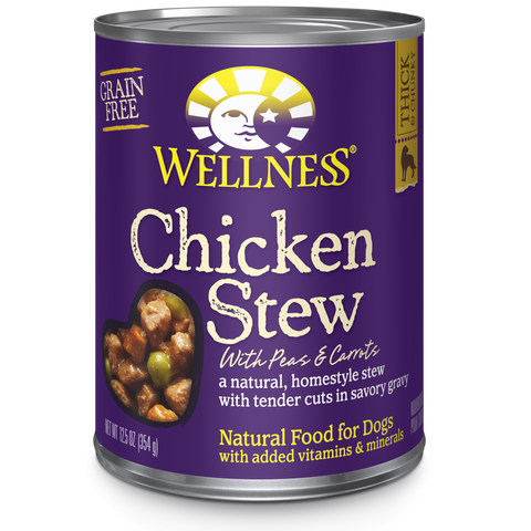 Wellness Premium Canned Dog Food | Grain-Free Homestyle Stew in Gravy | Chicken Stew with Peas & Carrots Recipe | 12.5 oz. Can