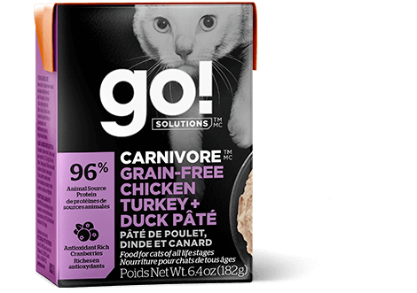 Go! Premium Wet Cat Food | Carnivore Grain-Free Formula | Chicken, Turkey & Duck Pate Recipe | 182g Carton
