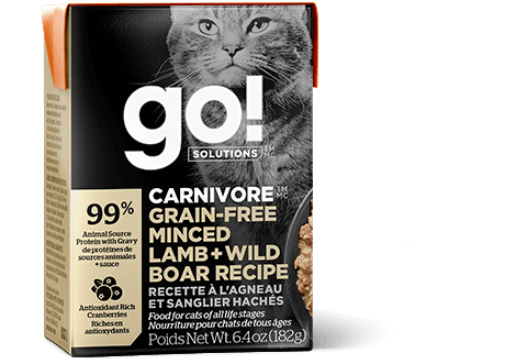 Go! Premium Wet Cat Food | Carnivore Grain-Free Formula |  Minced Lamb & Wild Boar Recipe | 182g Carton