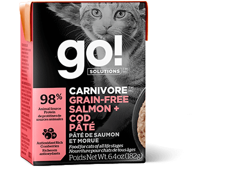 Go! Premium Wet Cat Food | Carnivore Grain-Free Formula |  Salmon & Cod Pate Recipe | 182g Carton