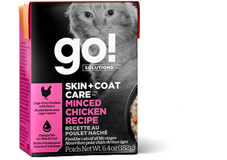 Go! Premium Wet Cat Food | Skin + Coat Care Formula |  Minced Chicken Recipe | 182g Carton