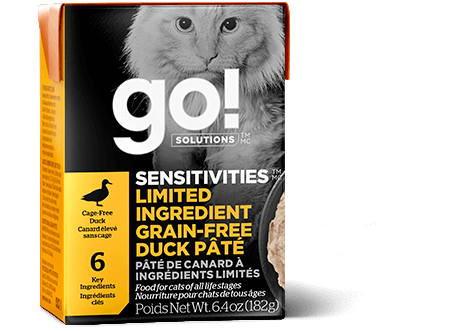 Go! Premium Wet Cat Food | Sensitivities Limited Ingredient Grain-Free Formula |  Duck Pate Recipe | 182g Carton