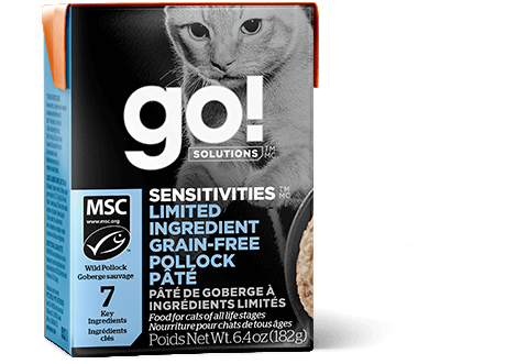 Go! Premium Wet Cat Food | Sensitivities Limited Ingredient Grain-Free Formula |  Pollock Pate Recipe | 182g Carton