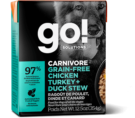 Go! Premium Dog Food | Carnivore Grain-Free Formula |  Chicken, Turkey & Duck Stew Recipe | 354g Carton