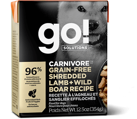 Go! Premium Dog Food | Carnivore Grain-Free Formula |  Shredded Lamb & Wild Boar Recipe | 354g Carton
