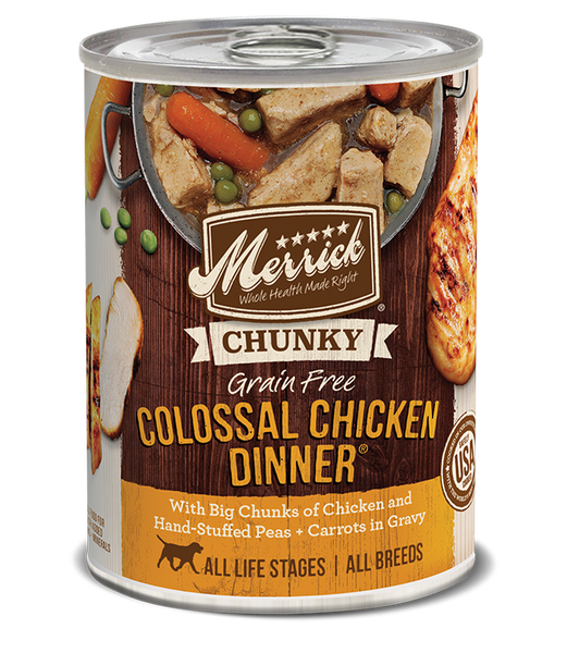 Merrick Premium Canned Dog Food | Grain-Free Formula | Colossal Chicken Dinner in Gravy Recipe | 12.7 oz. Can