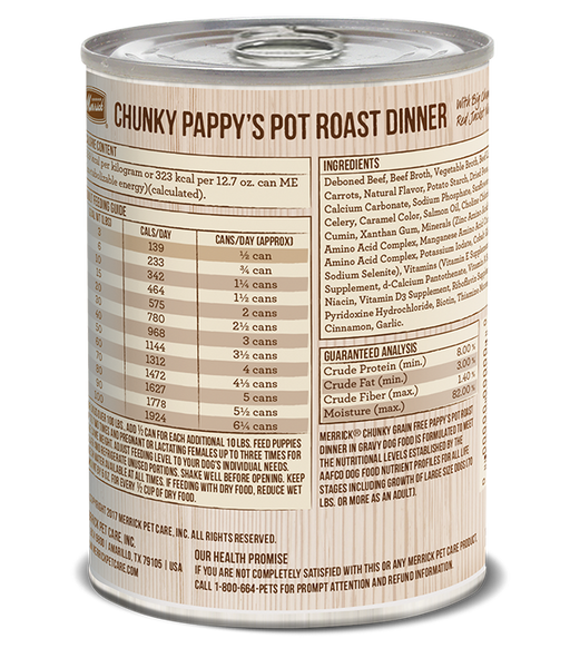 Merrick Premium Canned Dog Food | Grain-Free Formula | Chunky Pappy's Pot Roast Dinner in Gravy Recipe | 12.7 oz. Can