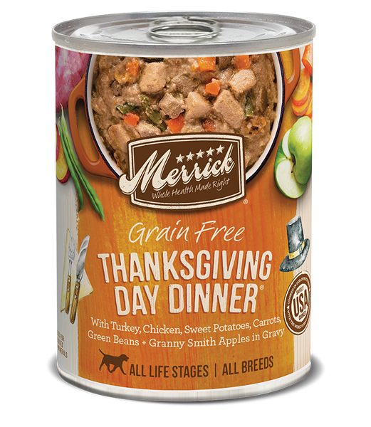Merrick Premium Canned Dog Food | Grain-Free Formula | Thanksgiving Day Dinner in Gravy Recipe | 12.7 oz. Can